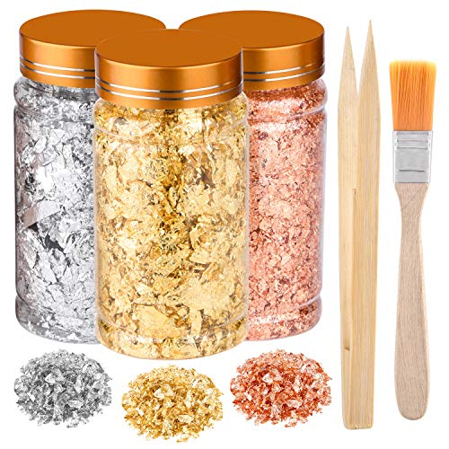 PLULON 3 Flaschen Vergoldungsfolienflocken, Blattgold für Harz, Silberfolienflocken, Kupfer-Metallic-Blatt mit Pinsel und Bambuspinzette für DIY Schmuckherstellung, Malkunst, Bastelnägel