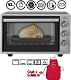 ICQN Minibackofen 42 Liter mit Umluft | Pizza-Ofen | Mini Ofen | Innenbeleuchtung | Doppelverglasung | Timer Funktion | Emailliert Inox Grau