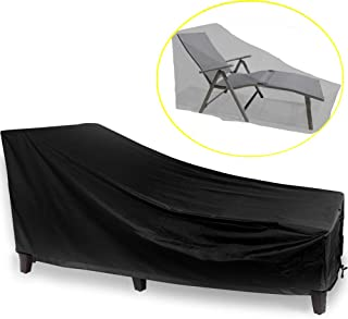 J&C Patio Chaise Lounge Cover,Outdoor Sunbed Cover, Patio Furniture Protector, Heavy Duty Outdoor Garden Sun Lounger Covers Protector Waterproof Black(82