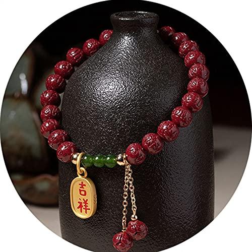 J.Memi's Pulsera Feng Shui Mujer Amuleto, Cuentas De Cinabrio Cuff Atraer Afortunados Ricos Brazalete para Mujeres Hombres Joya, Regalo,Rojo