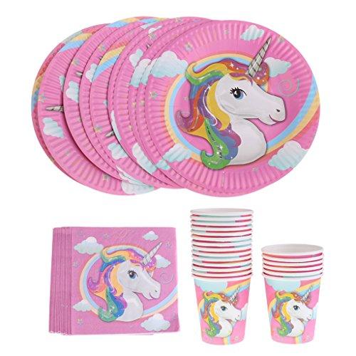 oshhni 40x Vasos Tazas Servilleta Vaso de Papel Desechable Unicornio Decoración