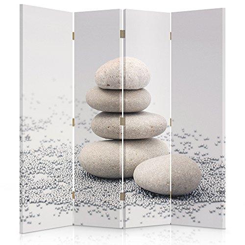 Feeby Frames Biombo Impreso sobre Lona, tabique Decorativo para Habitaciones, a una Cara, de 4 Piezas (145x150 cm), GUIJARROS, Beige, Gris