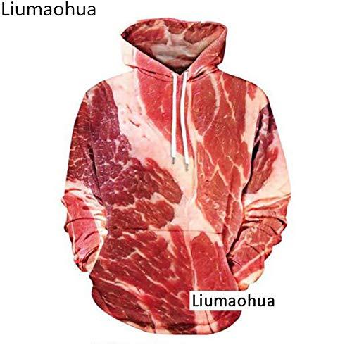 SBWYSS Sweatshirt 3D Halloween Winter Männer Kapuzenpullover Rundhals Pullover Langarm Cord Fun 3D-Druck Skinny Meat Beef Quality Kleidung