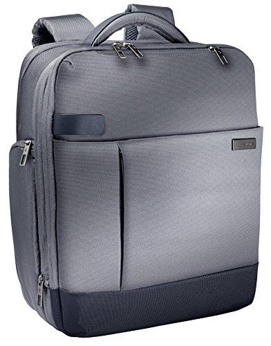 "Leitz 60170084, Mochila ligera y expandible para ordenador portátil de 15,6"" Smart Traveller, Poliéster/Piel, Plata"