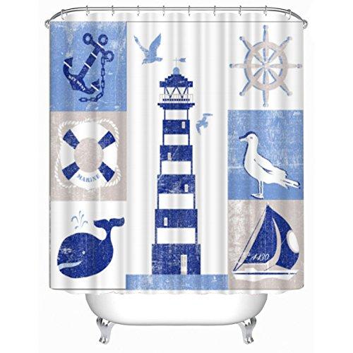 Ahorn und Home Custom Wasserdicht Duschvorhang, 180x 180cm blau Leuchtturm Digital Stoff Polyester Duschvorhänge Mit Kunststoff Haken Bad Vorhang Badezimmer Dekoration 180,3x 180,3cm