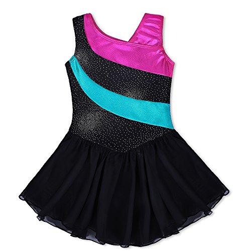 Kidsparadisy, tutù da danza per bambina, senza maniche, a strisce, con paillettes e gonna, strisce arcobaleno, per bambine di età compresa tra 2-11 anni, Nero, 160(12-13T)