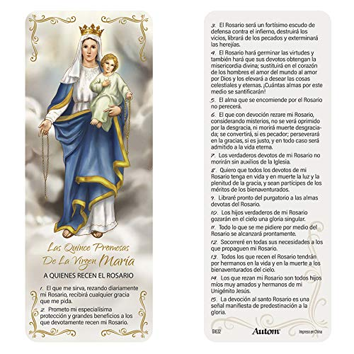 Relgious & Clergy Fifteen Promises of the Rosary Jumbo Laminated Bookmark (Spanish) - 50/pk