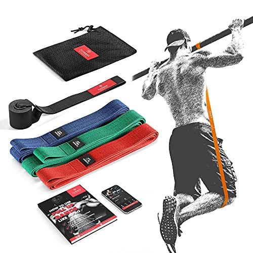 BeMaxx Banda Elástica de Resistencia Textil Guía de Entrenamiento   Pull Up Deporte Yoga Pilates   Banda de Tracción para Fitness y Estiramientos   Duradera Resistente Versátil   Juego de 3
