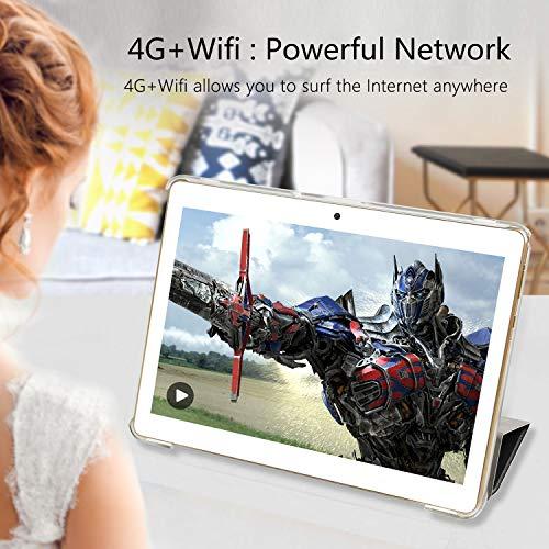 YOTOPT Tablet 10 Zoll, Android 9.0, 4GB RAM, 64 GB ROM, Quad Core, 5Mp + 2MP Kamera, 1280 * 800 IPS, Wi-Fi + LTE, Bluetooth, GPS, Schwarz (Gold)