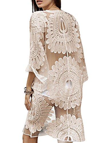 shermie Women's Floral Crochet Lace Beach Swimsuit Cover Ups Long Vintage Kimono Cardigan Beige