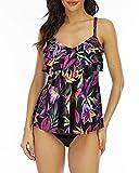 WIN.MAX Conjuntos de Traje de baño Tankini para Mujer Cintura Alta Volante con Volantes Conjunto de Bikini de 2 Piezas Traje de baño Traje de baño de Talla Grande (Tropical Floral, 38)