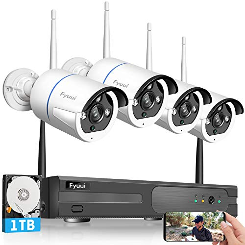 【Two-Way Audio】Wireless Security Camera System, Fyuui 1080P 8 Channel Wireless Surveillance H.265+ NVR with 1TB Hard Drive, 4pcs 2.0 Megapixel (1920×1080P) WiFi IP Camera Outdoor Indoor,Remote Access