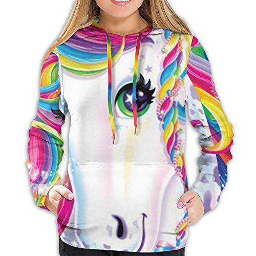 RROOT - Sudadera con Capucha para Mujer y niña Colorido Unicornio Arco Iris. S