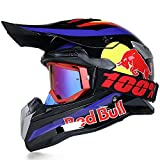 Cascos Motocross Casco Motocicleta Modular Caja De ABS CertificacióN Puntos Ciclomotor Off Road Crash Cross Downhill DH Four Wheelerd Cascos Integrales con Gafas Red Bull Gloves