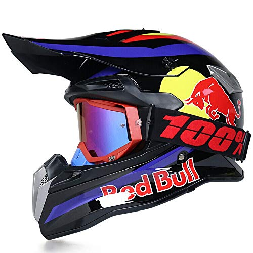 Cascos Motocross Casco Motocicleta Modular Caja De ABS CertificacióN Puntos Ciclomotor Off Road Crash Cross Downhill DH Four Wheelerd Cascos Integrales con Gafas Red Bull Gloves