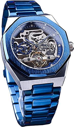 QHG Blue Steeless Acero para Hombre Moda mecánica automática Moda Casual Reloj de Pulsera Diamante Mostrar Business Waterproof Man Watch