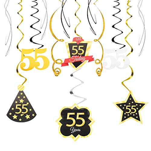 55 Birthday Decoration Happy 55th Birthday Party Silver Black Gold Foil Hanging Swirl Streamers I'm Fifty-five Years Old Today Birthday Hat Gold Star Ornament Party Present Supplies