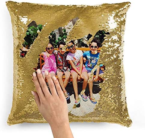 Custom Personalized Flip Reversible Sequin Pillow Cover Empty DIY Throw Case Decorative Home product image