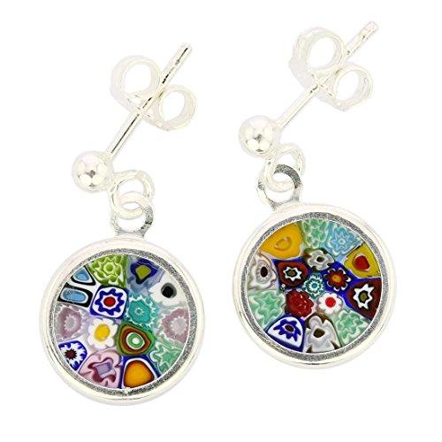 GlassOfVenice Pendientes Millefiori de cristal de Murano con marco plateado 'Multicolor'