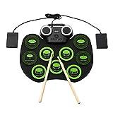 TTLIFE Electronic Drums 9 Pads Stereo LED Roll-Up Practice Mini Drum Machine Kit con conector para auriculares Altavoz Bluetooth incorporado/Baqueta/Pedales/Batería para niños principiantes