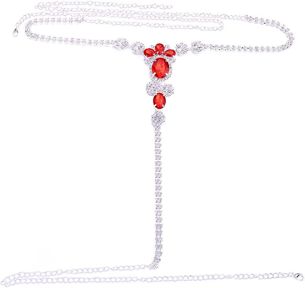 STONEFANS Sexy Red Rhinestone Waist Belly Chain Bikini Crystal Thong Panties Luxury Underwear G-String Body Chain Jewelry for Women Party Gifts