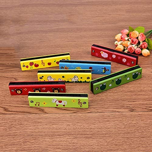 HIGHFIELDS Wooden Harmonica Colorful Kids Educational Musical Instruments Toys Children Cartoon Pattern Wood Mouth Organ Random Color and Design Pack of 4