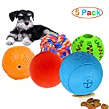 Volacopets 5 Pack Different Functions Puppy Treat Ball Dispenser,Treat Dispensing Puppy Toys, IQ Treat Balls for Puppy Small Dog,Squeaky Ball,Chew Dental Cleaning Ball,Cotton Rope Toy Ball