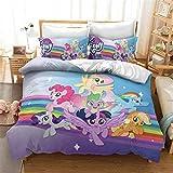 DDONVG My Little Pony - Juego de ropa de cama para niños, funda nórdica y funda de almohada, ropa de cama infantil para niña, 135 x 200 cm (135 x 200 cm)
