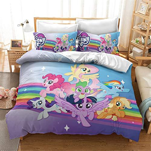 DDONVG My Little Pony - Juego de ropa de cama para niños, funda de edredón y funda de almohada, ropa de cama infantil para niña, 135 x 200 cm (140 x 210 cm)