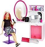 Barbie Coffret poupée et son salon de coiffure, peigne à paillettes et accessoires inclus, jouet pour enfant, DTK05