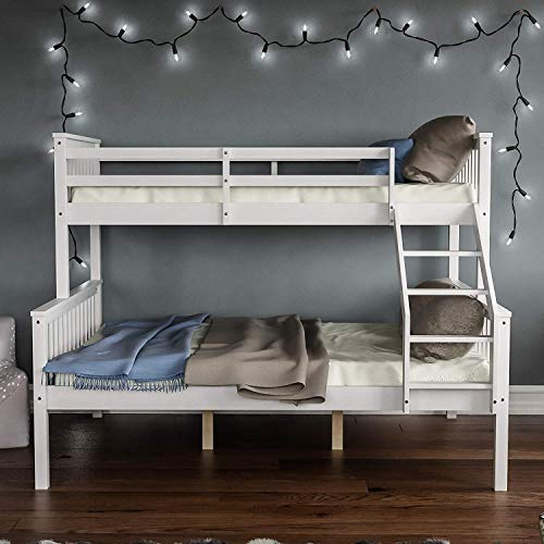 Triple Sleeper Bunk Beds / Single Top Double base bed / Solid Wood Frame / Wooden Bed Frame (White)