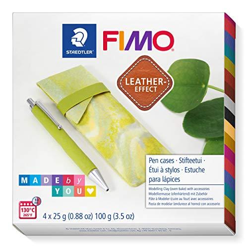 """STAEDTLER FIMO Leather-Effect Set """"Stifteetui in Marmoroptik"""" mit Anleitung und Zubehör, ofenhärtende Modelliermasse für kreative Objekte im Leder-Look, lederähnliche Optik und Haptik, 8015 DIY7"""
