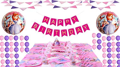 Pink Happy Birthday Banner + 30 Pink and Purple Metallic Balloons + 2 Princess Sofia 18' Round Foil Balloons for Birthdays and Theme Party Deocrations