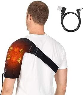 Shoulder Massage Heating Brace,  Adjustable Shoulder Heating Wrap Support with 2 Vibration Motors Shoulder Heat Therapy for Arthritis,  Frozen Shoulder,  Rotator Cuff Bursitis Pain Relief