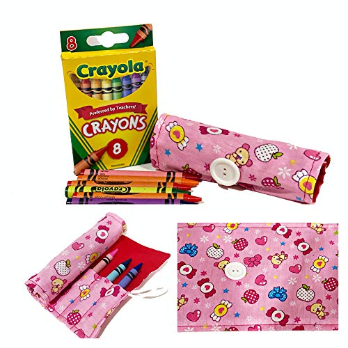 On The Go Crayons Caddy Holder wrap roll up case, Holds 9 to 18 Favorite Colors, Perfect to Keep Your Kids Organized, Inspired, & Entertained -8 Crayons Included! USA Handmade (Kitty Friends, Small)