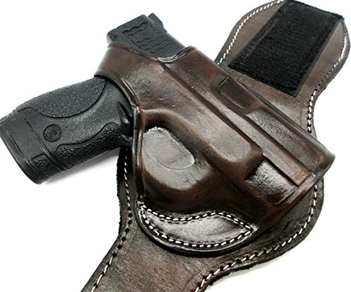 HOLSTERMART USA TAGUA Premium Dark Brown Leather Ankle Holster Right-Hand Draw for S&W M&P Shield 9 and 40, Including M2.0