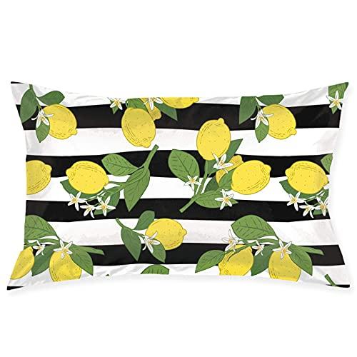QUEMIN Patrón de limón Amarillo con Rayas Blancas y Negras, Funda de Almohada con Cremallera, Funda de Almohada Rectangular Decorativa, Fundas de cojín para sofá de casa y sofá Cama, 20 x 30 Pulgadas