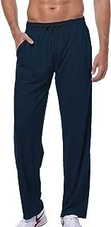 HISKYWIN Men's Stretch Elastic-Waist Drawstring Pants Sweat Sport Running Track Pants Zipper Pockets