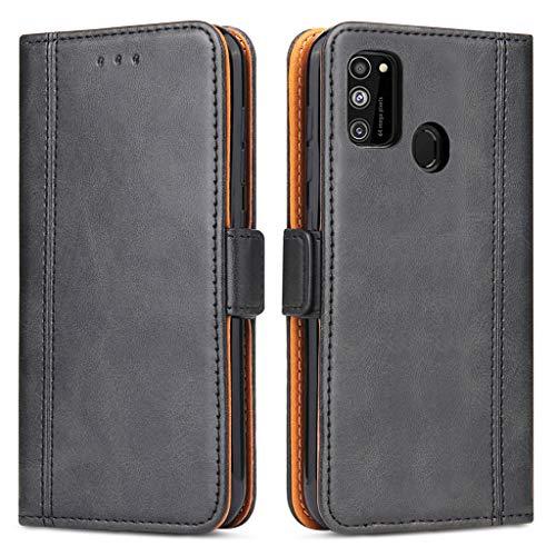 Bozon Handyhülle für Galaxy M21, Lederhülle mit Kartenfächer, Schutzhülle mit Standfunktion, Klapphülle Tasche für Samsung Galaxy M21/ M30s (Schwarz)