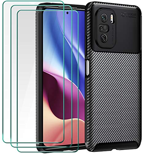 ivoler Funda para Xiaomi Poco F3 5G / Xiaomi Mi 11i + 3 Unidades Cristal Templado, Fibra de Carbono Negro TPU Suave de Silicona [Carcasa + Vidrio Templado] Ultra Fina Caso y Protector de Pantalla