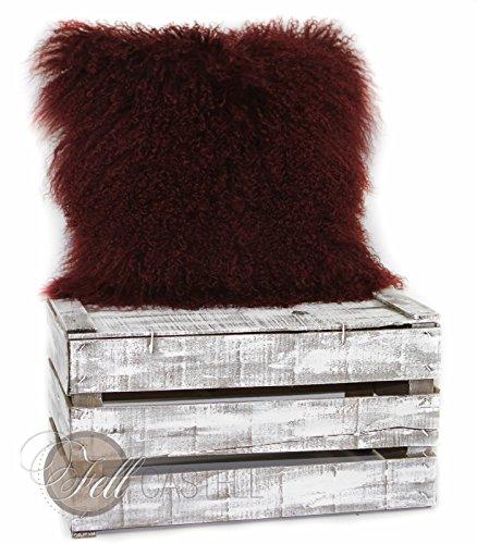 Kissenbezug Tibetlammfell Bordeaux Kissen Tibetlamm 40 x 40 cm