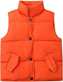 Anxinke Kids Winter Warm Sleeveless Jackets Solid Color Buttons Waistcoats