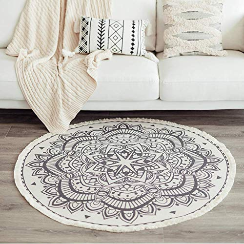 MeMoreCool Round Rug Boho Cotton Area Rug 120cm In and Outdoor Rugs Mandala...