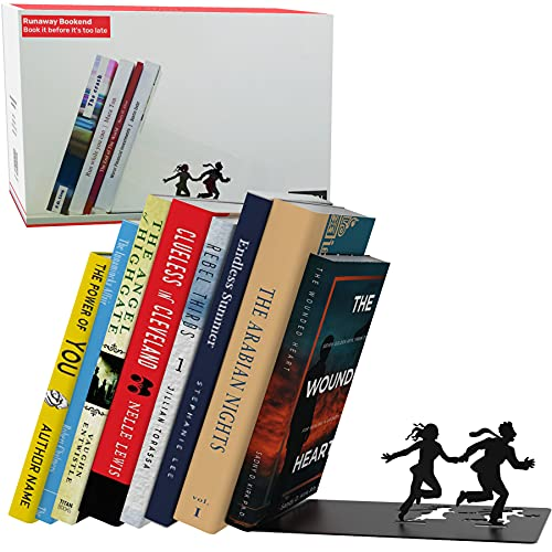 Unique Metal Decorative Bookends - Whimsical Hidden Book Ends for a Cool Book Holder Display - Cute Home Decor and Modern Gift Idea for Shelves Desk or Table (Runaway)