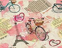 KAPANOU DIY5dダイヤモンドペインティングキット、古い新聞をテーマにした3台の自転車とエッフェル塔、フレームダイヤモンドナンバーラインストーンペインティングキット、大人の子供向け手作りダイヤモンドアートクラフト 40x50cm
