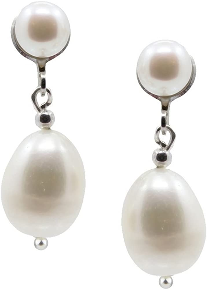 White Freshwater Cultured Pearl Clip On Earrings 5.0-10.0mm with rhodium plated base metal clip