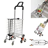 KARMAS PRODUCT Folding Shopping Cart with Swivel Wheels Stair Climber Grocery Utility Hand Cart Trolley, Easily Collapsible and Portable