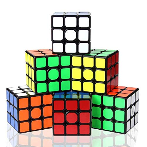 Vdealen 3x3x3 Professional Magic Cube Set,Puzzle Cube 3D Puzzle Magic Toy IQ Games for All Age Kids-6 Pack