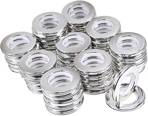 WCIC Curtain Eyelet Rings 48PCS Curtain Grommets Round Plastic Rings Clips Inner Diameter 40mm DIY Rings for Window Curtain, Shower Curtain, Locker Room Door Curtains, Backpack Bag Hole Bright Silver