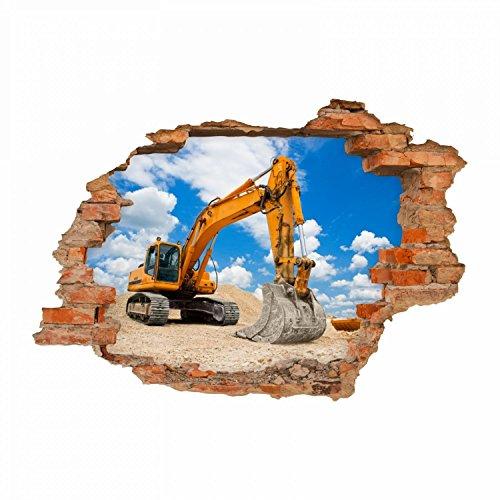 nikima 049 Wandtattoo Bagger Baustelle - Loch in der Wand - in 6 Größen - Coole Kinderzimmer Sticker und Aufkleber Wanddeko Wandbild Junge Mädchen Größe 750 x 520 mm